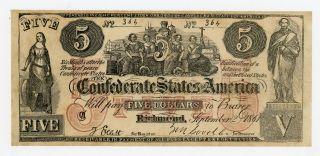 1861 Ct - 31 $5 The Confederate States Of America Note - Civil War Era photo