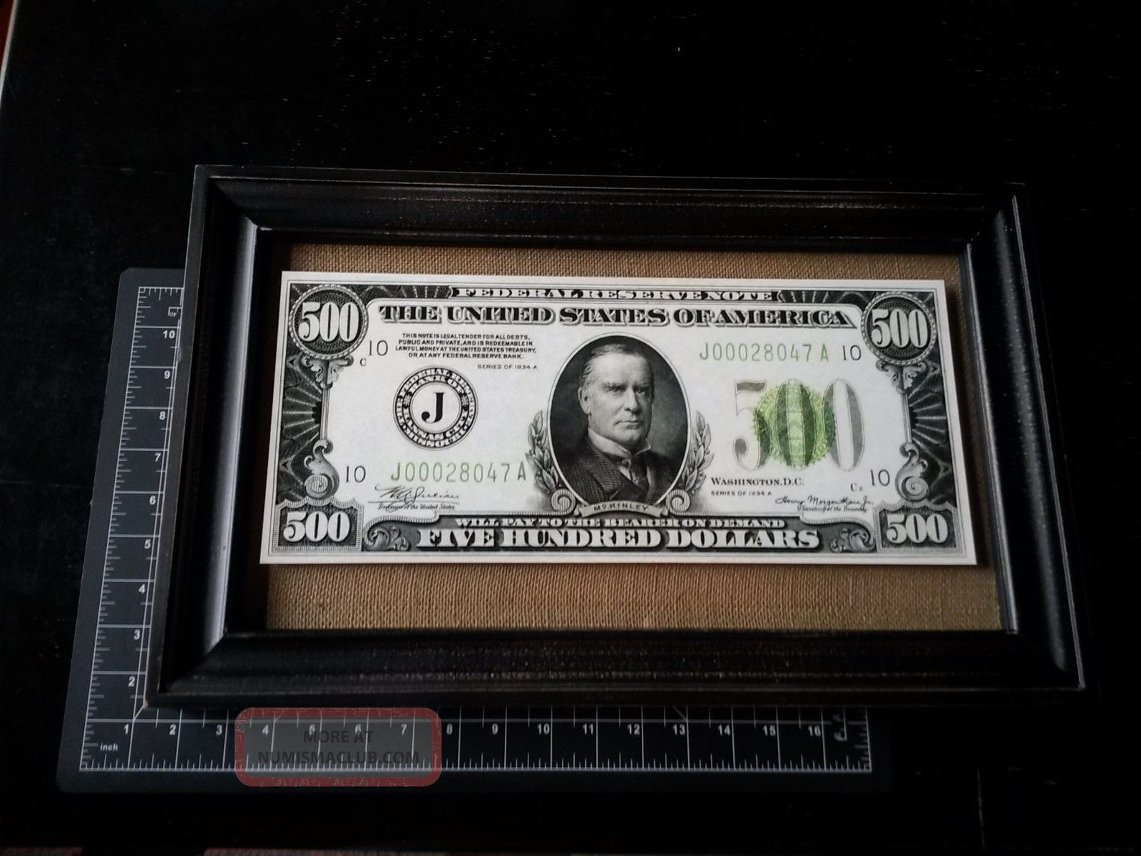 $500 Federal Reserve Note - Mckinley - Series 1934 - Oversize Reproduction Framed Paper Money: US photo