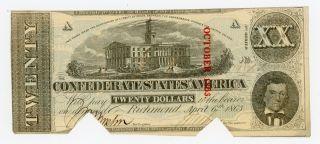 1863 T - 58 $20 The Confederate States Of America Note - Civil War Era photo