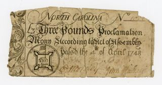 April 4 1748 3 Pounds North Carolina Colonial Note photo