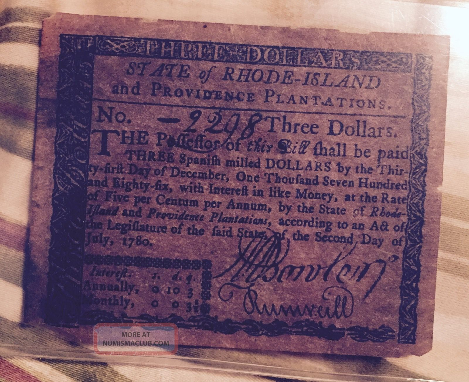 1780 $3 U.  S.  State Of Rhode Island & Province Plantation Colonial Note L@@k Paper Money: US photo