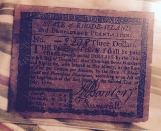 1780 $3 U.  S.  State Of Rhode Island & Province Plantation Colonial Note L@@k photo