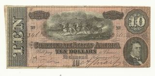 1864 Confederate $10 Note January 17th 1864 Aunc Look photo