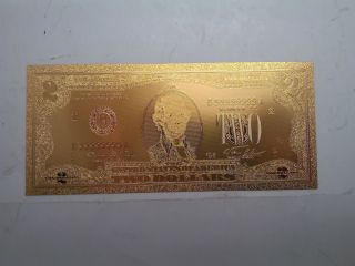 $2 Usd Gold Foil Bill 24kt Gold 9999999 Special Edition photo