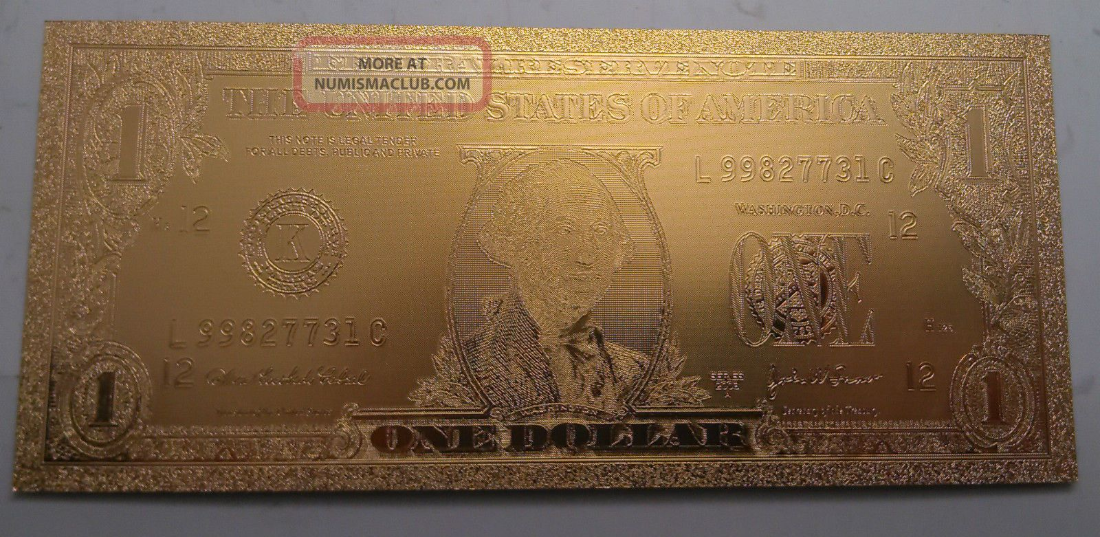 $1 Usd Gold Foil Bill 24kt Gold 9999999 Special Edition Paper Money: US photo