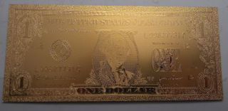 $1 Usd Gold Foil Bill 24kt Gold 9999999 Special Edition photo