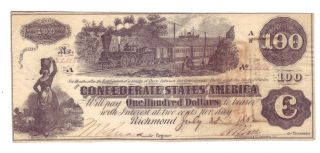 T39 - Confederate States Of America $100 - July 28,  1862 Uncirculated photo