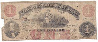 $1.  00 Virginia Treasury Note 1862 photo