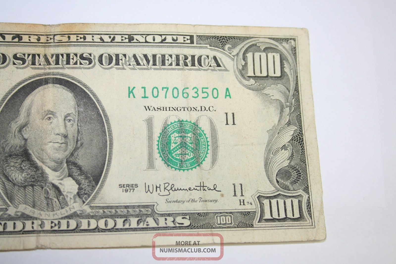 1977 Hundred Dollar Bill Old Small Head Design 100 Note From Frb Dallas