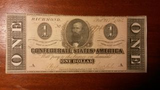Confederate States Of America $1 Banknote photo