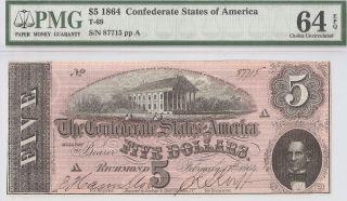 Fantastic 1864 Civil War $5 Dollar Csa Confederate T - 69 Pmg Choice Unc - 64 Epq photo