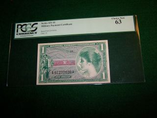 $1 Military Payment Certificate Mpc Series 651 First Printing Pcgs Choice 63 photo