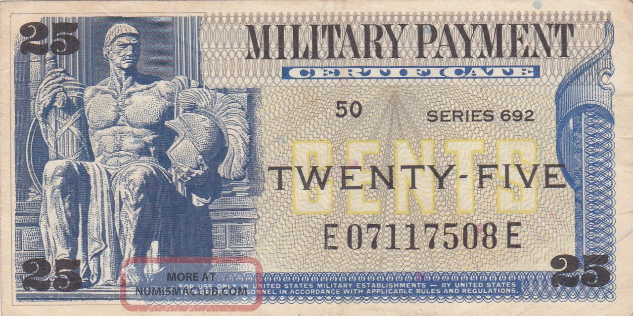 25 Cents Usa Military Payment Certificate Fine Paper Money: US photo