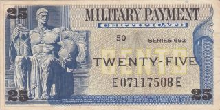 25 Cents Usa Military Payment Certificate Fine photo