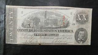 1863 $20 Csa Double Xx Note 2nd Series Plate C & Cross Cancel Imprints photo
