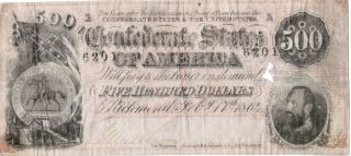 1864 $500 Confederate Note - Richmond,  Va - Mounting Damage - No 6201 photo