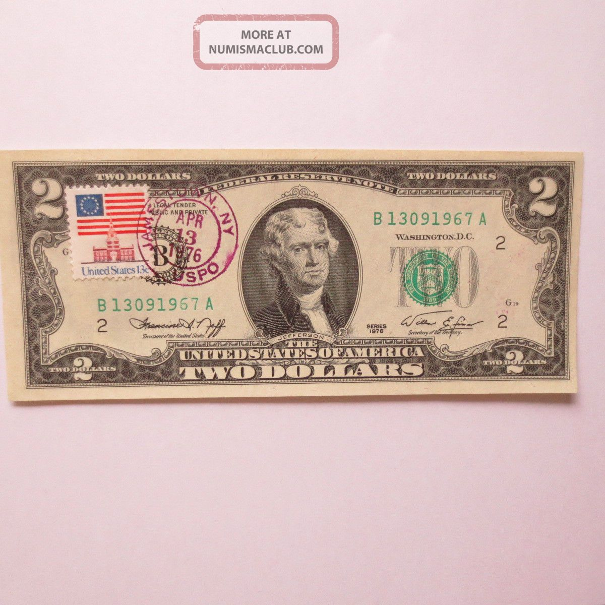 1976 2 Two Dollar Bill First Day Issue With Stamp Postmarked Jamestown Ny