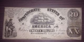 1861 Twenty ($20) Dollar Csa Confederate States Of America Currency Note T - 18 photo
