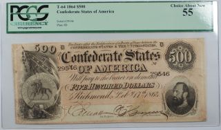 1864 Confederate States Of America $500 T - 64 Note Pcgs Choice About 55 Akr - C photo