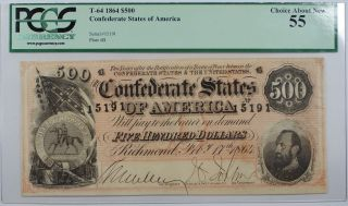 1864 Confederate States Of America $500 T - 64 Note Pcgs Choice About 55 Akr - B photo