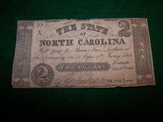 1861 $2 Dollar North Carolina Note Civil War Era Currency Money photo