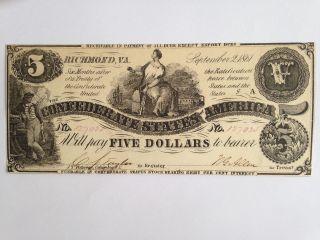 Confererate Five Dollar Note,  T - 36,  Cu photo
