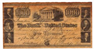 $1000 1840 The Bank Of The United States Franklin Penn Madison Antiqued Replica photo
