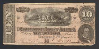 $10 Dollar Large 1864 Confederate T68 Civil War Paper Money Currency Tx La Note photo