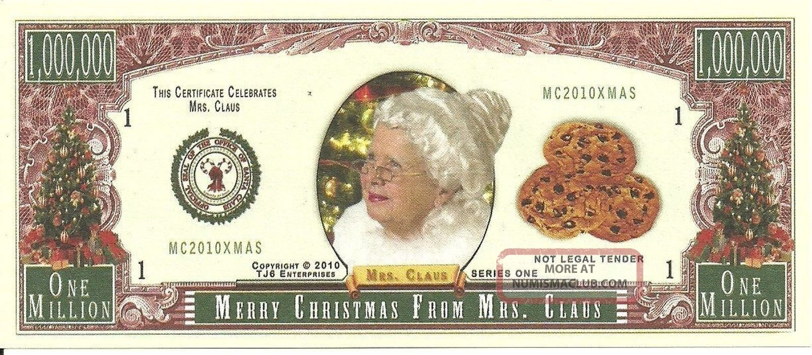 Novelty Usapaper Money Tj6 2010 Mrs Santa Clauss Christmas Million Banknote Paper Money: US photo