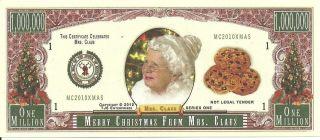 Novelty Usapaper Money Tj6 2010 Mrs Santa Clauss Christmas Million Banknote photo