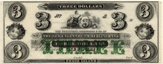 18 - - $3.  00 The England Commercial Bank,  Port,  Ri.  Unissued Note Unc D625 photo
