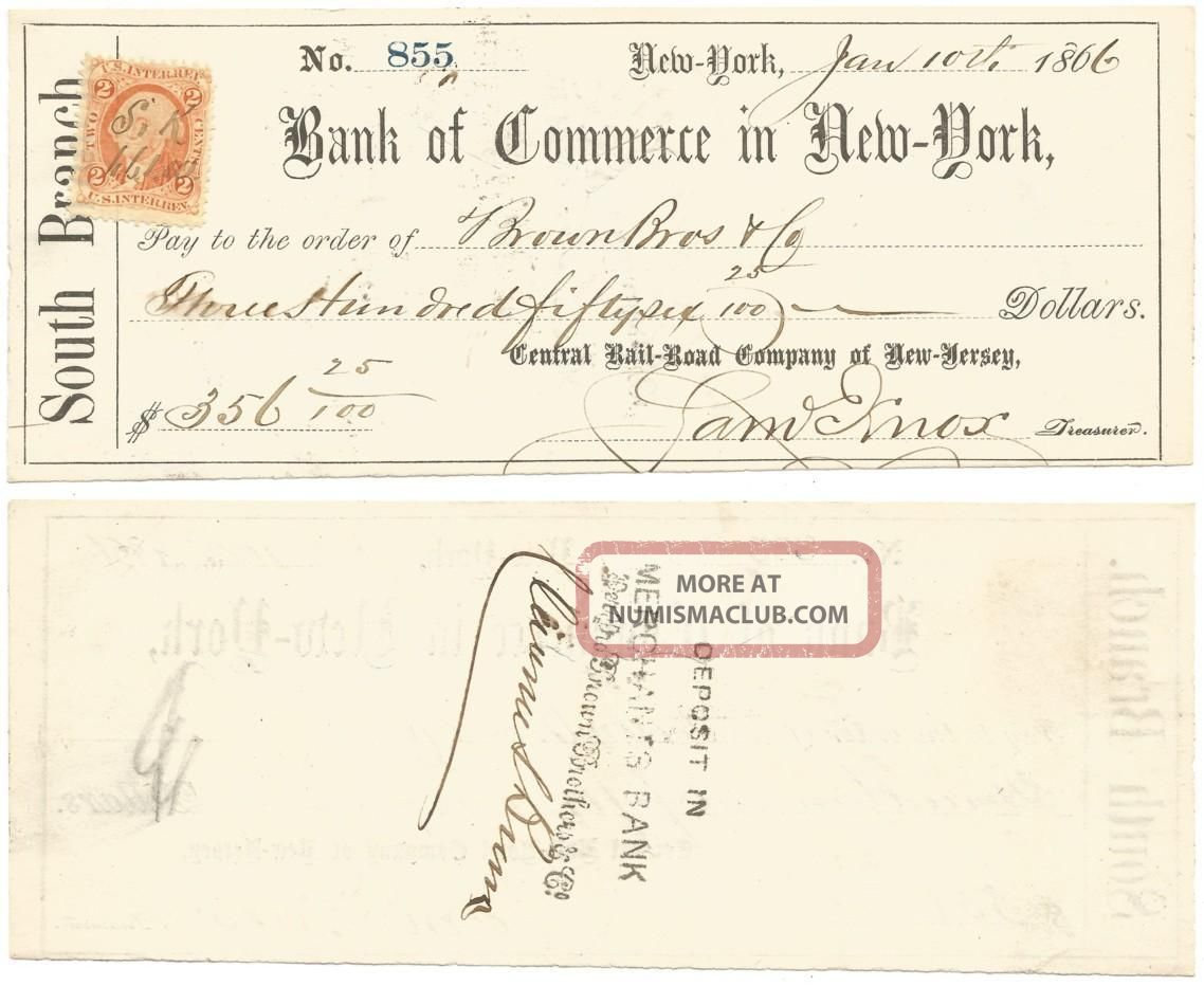 1866 Central Railroad Company Of Jersey Bank Check Internal Revenue Stamp