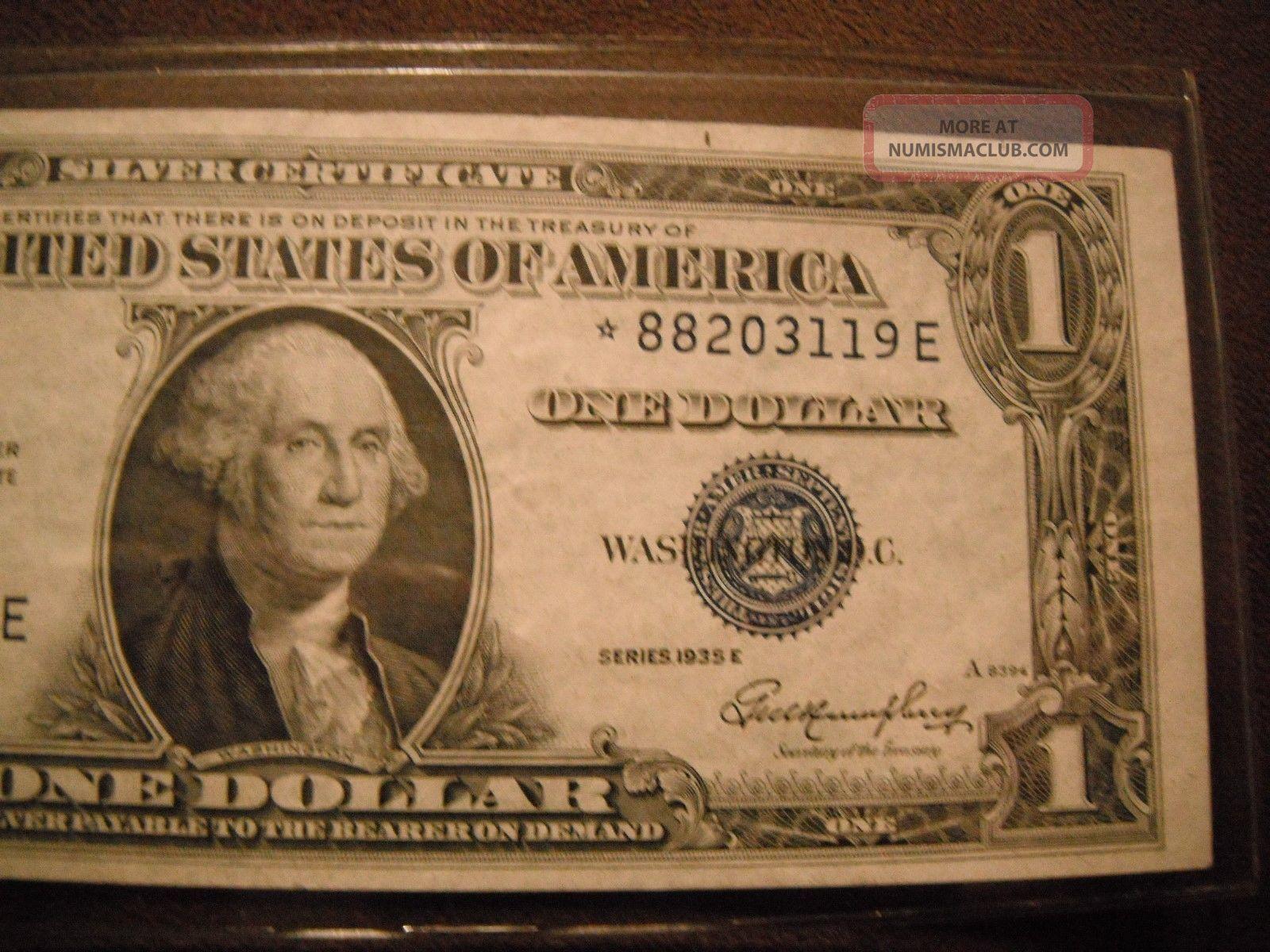 1935 E 1 Dollar Silver Certificate Star Note Au