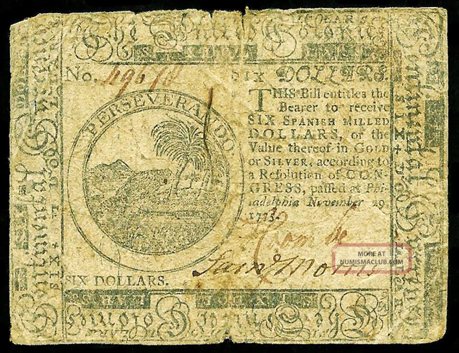 November 29,  1775 Philadelphia,  Pennsylvania Six Dollars Colonial Currency Paper Money: US photo
