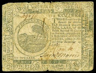 November 29,  1775 Philadelphia,  Pennsylvania Six Dollars Colonial Currency photo