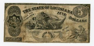 1862 $5 The State Of Louisiana