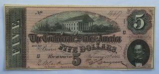 1864 $5 Csa Richmond Va Five Dollar Note Rare photo