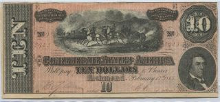 1864 Confederate Currency $10 Richmond Bank Note photo