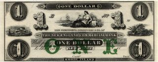 18 - - $1.  00 The England Commercial Bank,  Port,  Ri.  Remainder Note Cu N288 photo