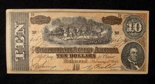 Confederate $10 Dollar Note Civil War Csa Currency Facsimile 1864 Richmond Va. photo