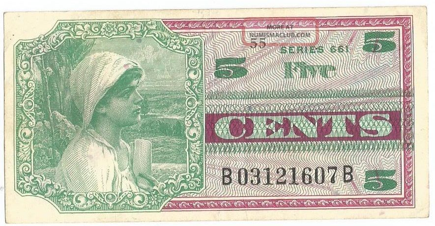 Us Currency Military Payment Certificate 5 Cents Series 661 Au Paper Money: US photo