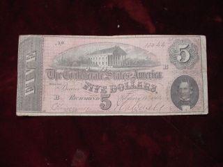 1864 $5 Confederate States Of America T - 69 Vf photo