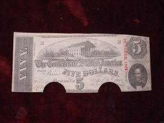 1863 $5 Confederate States Of America T - 60 Vf photo
