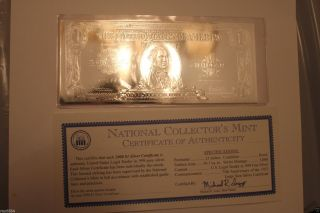 2000 National Collectors 75th Anniversary$1 Silver Certificate Legal Tender photo
