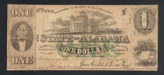 $1 1863 Montgomery Alabama One Dollar Bill Confederate Money Old Obsolete Note photo