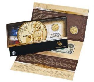 2014 Native American Enhanced $1 Coin And 2013 Series $1 Note Sacagawea (ta9) photo