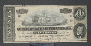 1864 Confederate States Of America $20.  00 Note Circulated (c2610) photo
