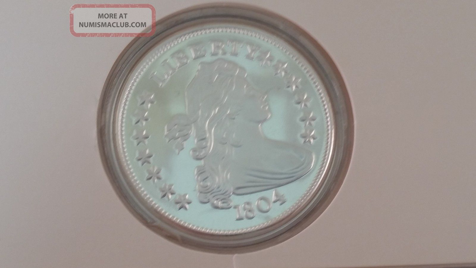 1804 Liberty Bust Dollar Proof Replica.  999 Fine Silver 2 Toz Bullion Round Paper Money: US photo