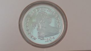 1804 Liberty Bust Dollar Proof Replica.  999 Fine Silver 2 Toz Bullion Round photo