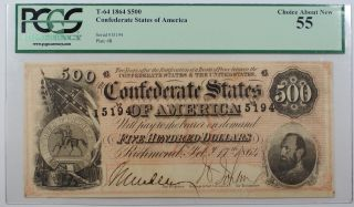 1864 Confederate States Of America $500 T - 64 Note Pcgs Choice About 55 Akr - A photo